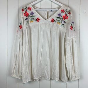 Old Navy Peasant Blouse XL Floral Embroidery